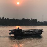 Life on the Mekong River at Sunset