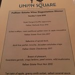 The Palliser  Winemakers Dinner Menu