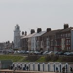 Southwold lighthouse and cottages from pier