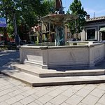 Fountain next to Sidewalk seating