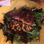 Delicious spring salad with blackened fish.