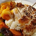 Grilled Snapper with tequila sauce and shimp with mango sauce!