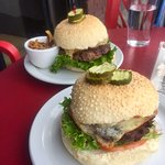 Delicious Pink Bicycle Burgers - recommend Black Bean Veggie Burger + Pink Bike Burger with baco