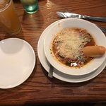 Minestrone with a bit of cheese and those bread sticks were way too tasty...
