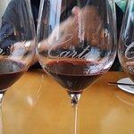 Wine flight of Carter's wines, excellent Pinot & Merlot