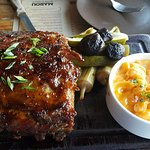 Half rack of pork ribs, pickles, mac & cheese