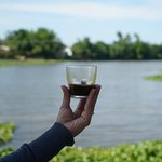 cold vietnamese coffee at a duck farm on our way back