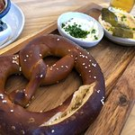 Pretzel with Obatzda and pepper/honey butter