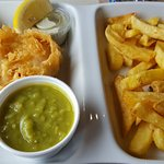 Hake, chips and mushy peas. Yummy! Why can't I get fish and chips like this in Edinburgh?