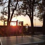 Sun setting over the play area