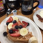 Little Waffle in the Henhouse plus patriotic fresh fruit