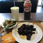 Burnt Ends, Spinach Salad, Garlic Cheese Bread.