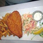 Panko-Crusted Flounder with Veggie Slaw & Fries