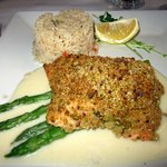 Pistachio-crusted Salmon w/ Rice and Asparagus