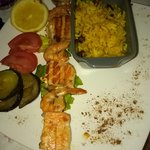 brochette de saumon et crevette