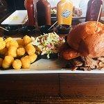 Conundrum Sandwich, Wasabi Coleslaw, Tater Tots