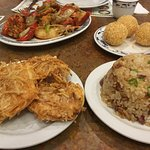 Lobster dish, sesame balls, fried pancake with shrimps, fried rice