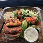 Open face blackened fish and salad