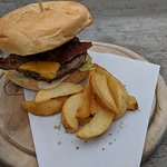 Cheese Burger with Bacon and Fries