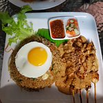 Nasi goreng with satay chicken. Yum