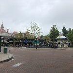 Inside Disneyland Park, hotel in the distance