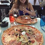 Pizzas with girlfriend to scale.