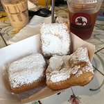 Coffee drinks and mmmm beignets! And not much of a crowd.