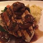 Chicken Marsala with grilled vegetables and mashed potatoes