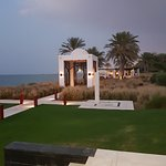 view from the long pool to the Chedi pool cabana/restaurant