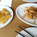 Salt & chilli king prawns (you have to try that!) and spring rolls.