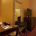 armoir, mirror, and desk
