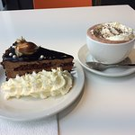 Cake and Hot Chocolate with Lots of Cream