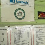 Chef Juan's Kitchen and Pastries, Caye Caulker,Belize-price list