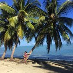 Down on the beach, coconut trees and beautiful water