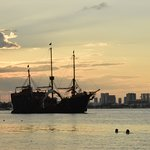 Pirate Ships floating by in the evenings.