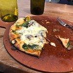 Pretty decent thin crust mushroom and spinach pizza