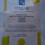 Good Food Award on the hatch door