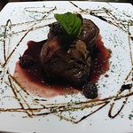 Filet mignon with coffee and blackberry sauce.