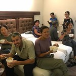 Enjoying our take away Chinese food from Jade Garden in our hotel room