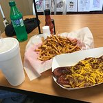 """""""Dirty Dog"""" and fries"""