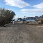 """A walking route from Elounda's bus """"station"""" to sunken Olous & the early basilica's floor mosaic"""