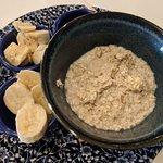 Porridge with fruit and honey.