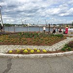 View of waterfront past the memorial garden and the walking trail