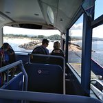 View from inside the bus as we approach the landing stage of the chain ferry
