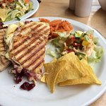Wensleydale cheese and cranberry panini with side salad
