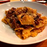 Pappardelle with red wine braised duck ragu and parmigiano reggiano