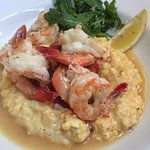 Carolina Shrimp Poached in Chardonnay and Lemon with Woodson's Mill Creamy Grits
