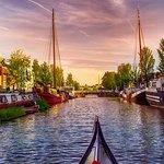 beautifull city of Leeuwarden with sunset