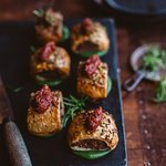 Pork and fennel sausage rolls  with tomato-chilli jam
