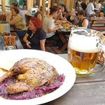 roasted duck with cabbage and bread, pilsner urquell
